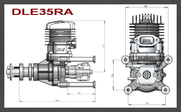 Dle 35ra Rear Exhaust Petrol Engine